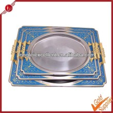 Stainless steel square tray/cafeteria tray/divided food trays decorative plate