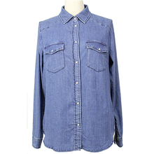 High quality women's light blue denim shirt
