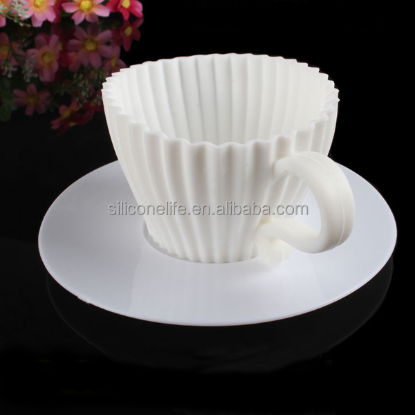 Wholesale 100% Food Grade Silicone Teacup Cupcake Molds