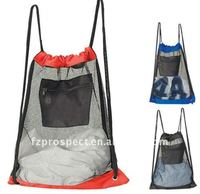 Sport hiking light weight mesh drawstring backpack bag