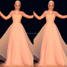 Graceful Floor Length Orange Long Sleeve Lace Applique Chiffon Arabic Musilim Evening Dresses With Hijab (MAE0132)
