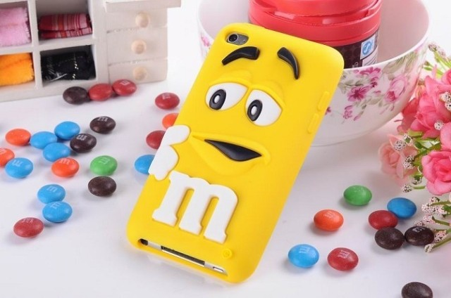 Cute 3D cartoon Kids Silicone M&M Chocolate Beans Case cover for ipod touch 4 itouch 4 ,500pcs/lot