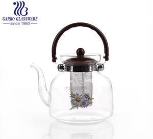1.5L Classic Design Clear High Borosilicate Pyrex Loose Leaf Glass Tea Coffee Pot with Strainer