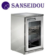 Stainless Steel Material 100L commercial mini bar refrigerator with glass door