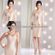 HM2010 Sleevless with jacket champagne mother of the bride dresses