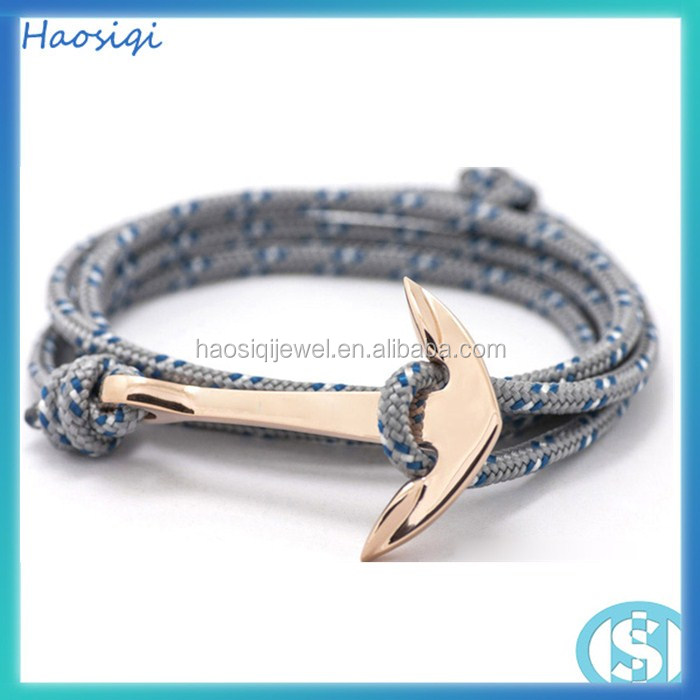 Custom Handmade Mens nylon rope Braided Hook Anchor Bracelet stainless steel anchor bracelet jewelry gold