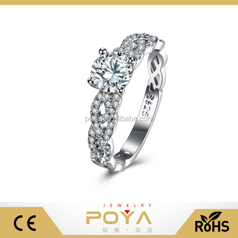 POYA Jewelry 925 Sterling Silver Braided Round Zircon Ring,Womens Wedding Engagement Anniversary Jewelry