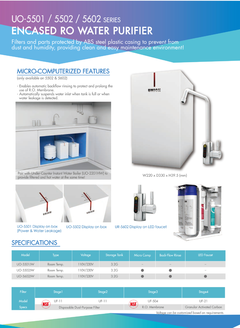 UO-5602JW-R5 Micro Computerized Encased Under Counter / Under Sink LED Faucet RO Water Purifier