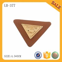 LB377 High quality custom logo deboss metal leather elbow patch for jeans