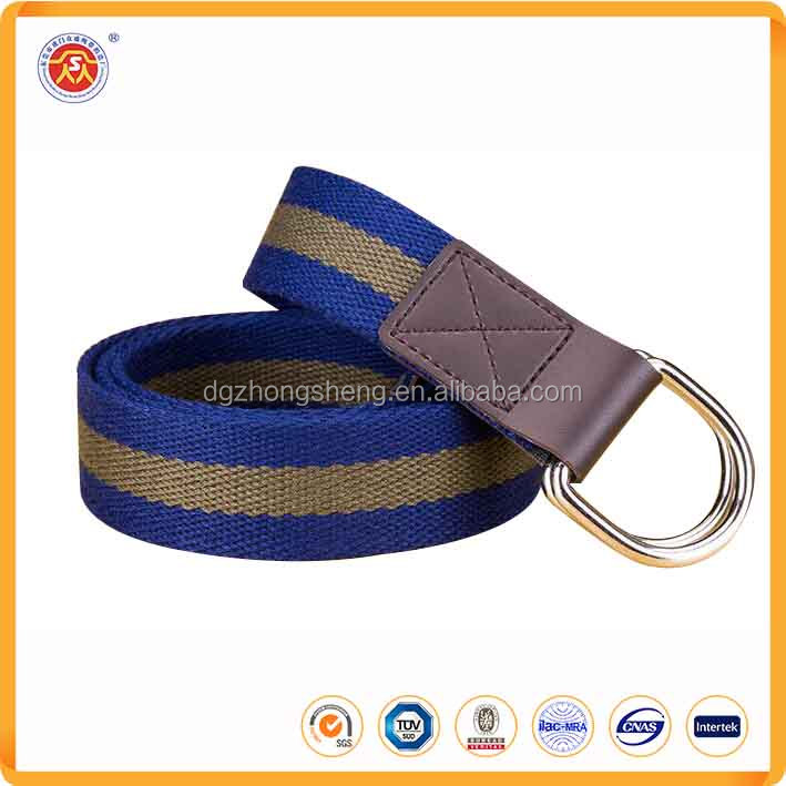 Stripe Belt printed Polyester Webbing Canvas Men Belts with Double D Rring