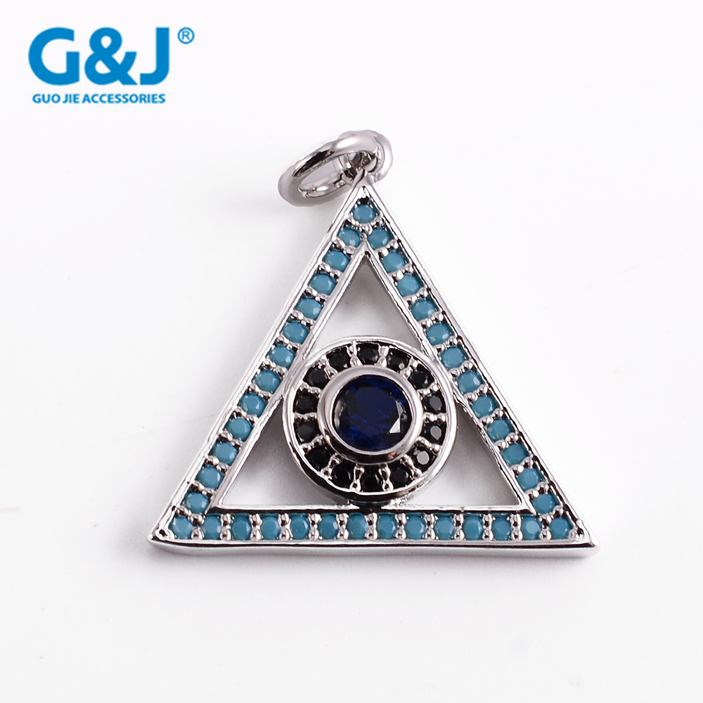 Guojie brand wholesale printed rhinestone hot selling high quality triangle necklace silver pendant