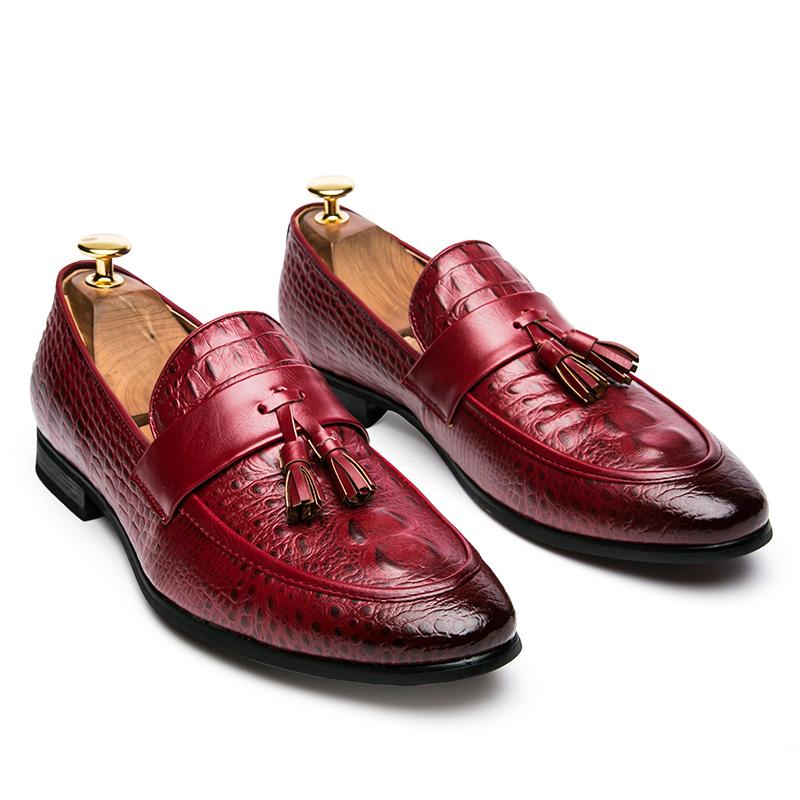 men winter italian fashion snake skin brogue leather oxford tassel slip on pointed toe shoes designer male formal cool footwear  (43)