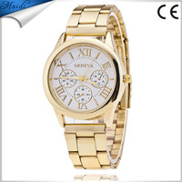Hot Luxury Geneva Fashion Men Watches Gold Stailess Steel Roman Numerals Analog Quartz Wrist Watches GW026