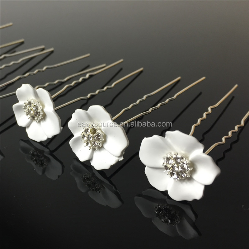 Flower hairpin bridal hair accessory floral shape rhinestone material wedding hairpin