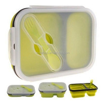 Save Space Silicone Bento Lunch Box Collapsible, Airtight Silicone Food Storage Containers, Dishwasher & Microwave Safe