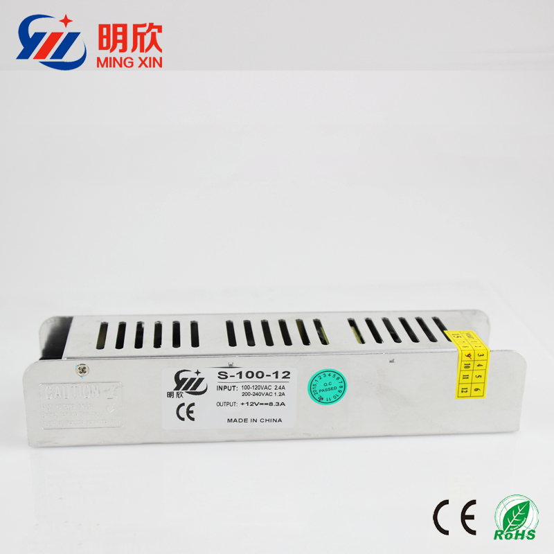 slim case dc 12v 8.5a 100W 110V DC Power Supply strip shape normal indoor led power supply