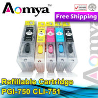 For canon pixma ip7270 refillable ink cartridge PGI750 CLI751 with auto reset chip
