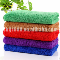 High water absorption piped green microfiber coral fleece household/car cleaning towel