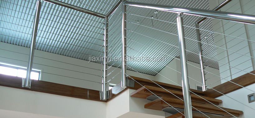 stainless steel side fixed posts with curved cable wire balusters handrail
