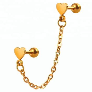 16g 316 stainless steel gold heart ear cartilage chain piercings jewelry