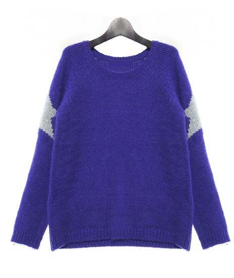 Girl's Cute Star Printed Computer Knitted Pullover Sweater