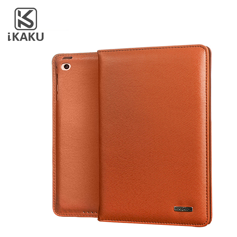 hot sale Kaku wholesale fancy Intelligent sleep genuine tablet flip stand full leather case for ipad air