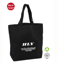 Your Own Logo 16oz Canvas Black Wholesale Plain Canvas Tote Bag