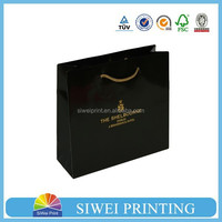 fashional black gold paper gift bag with embossing and logo foil custom,bag for gift