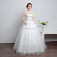 K1939A Sexy Sleeveless White Wedding Dress 2017 New Style Backless Ball Gowns For Bridal
