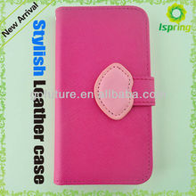 Side open flip leather case for samsung galaxy s4, for mobile phone
