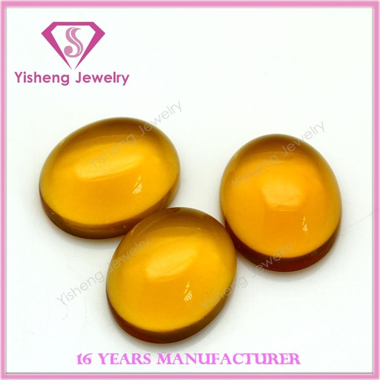 Topaz yellow large glass bead oval shaped cabochon flat bottom gem stone