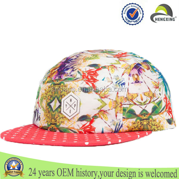 floral 5 panel hat sewing pattern,fresh prince style 5 panel hats,floral 5 panel hat wholesale