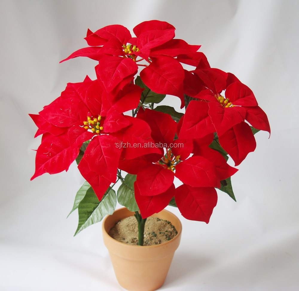 Artificial silk poinsettia flowers for christmas for Artificial leaves for decoration