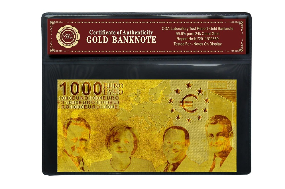 Pure Gold 24k 1000 EURO Banknote for Collection with PVC Frame