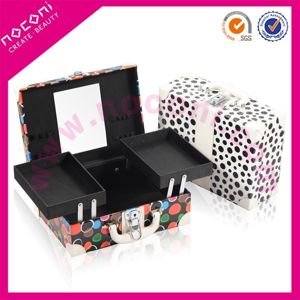 noconi latest square colorful cute design cosmetic make up case with mirror for bride