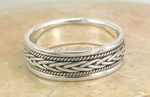 EXOTIC .925 STERLING SILVER BRAIDED BALI BAND RING/FASHION RING
