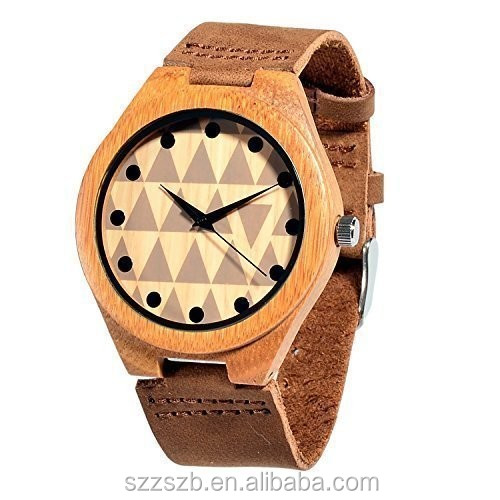 Wooden Watches Bamboo Wood Soft Leather Strap Unisex with miyota 2035 movement