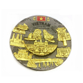 Vietnam souvenir 3D engraved building design metal plate with hanging hook plate