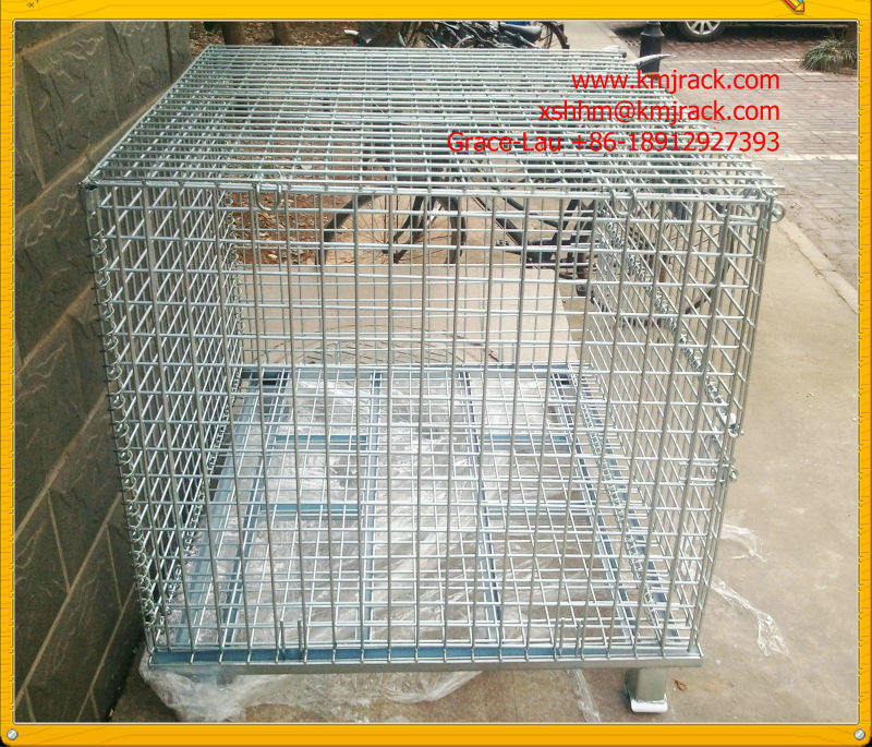 2014 Hot Sold Heavy Duty Foldable Storage Metal Pallet Cage,Zinc plated