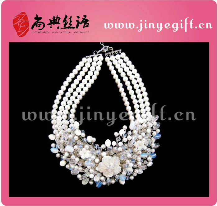 Fashion Necklace Set Pearl And Crystal Bridal Wedding Jewelry