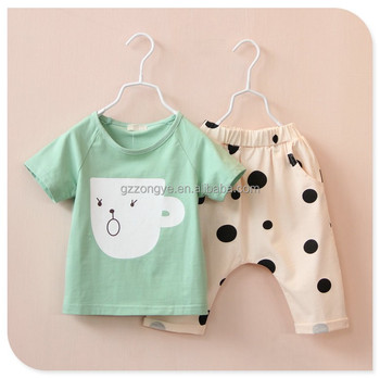 2015 summer new children's short-sleeved suit baby girl cartoon t-shirt printing harem pants suit