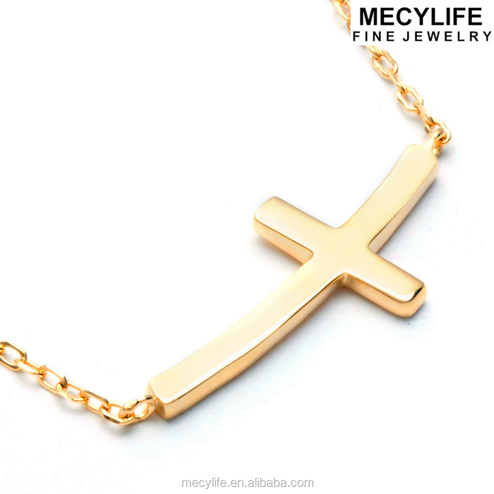 MECYLIFE Stainless Steel Jewelry Fashion Curved Sideways Cross Necklace