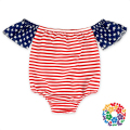 2017 Baby Girls American Flag Patterns Off Shoulder Rompers Toddler Cotton 4th Of July Romper Children Clothing Wholesale Price