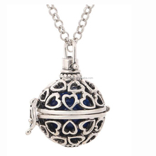 HX035 Yiwu Huilin Jewelry Wholesale Perfume Hollow Heart Cage Necklaces Diffuser Locket Pendants For Gift