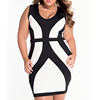 Plus size dresses for ladies,Contrast black white color dresses, Casual dresses for fat ladies