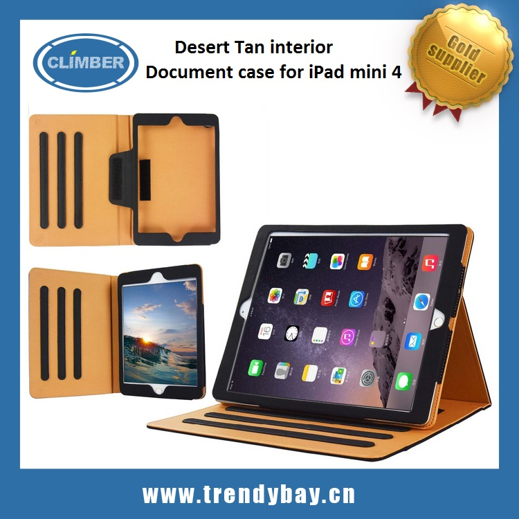 Desert Tan interior premium leather cover For ipad mini 4 case