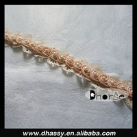 New product fancy pink beaded chiffon flower lace trim for dress