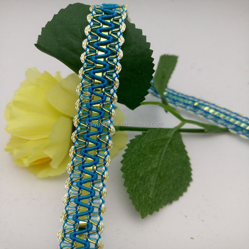 indian sky blue sewing decorative flat straight lace trim