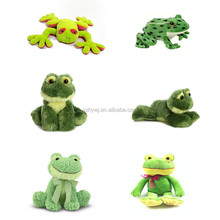 custom promotional gift different animal stuffed green frog plush toy