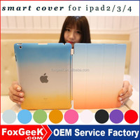 leather case and back case for ipad 2 3 4 folding Magnetic Leather with Sleep/Wake up function multi colors